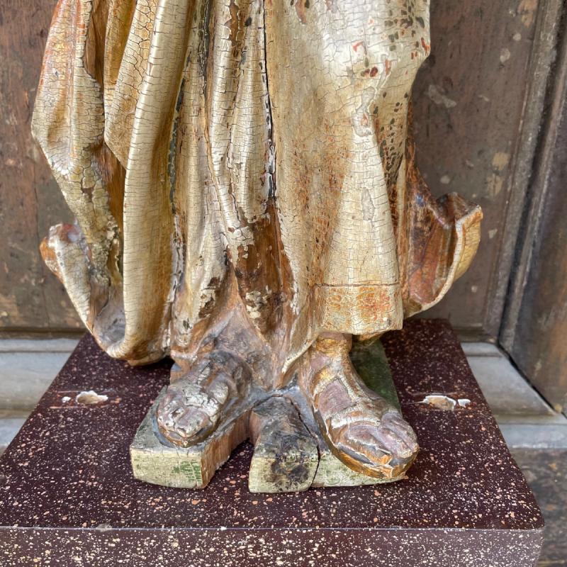 Statue En Bois Polychrome De Saint Jean-baptiste-photo-4