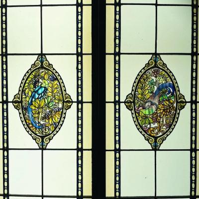 Pair Of Stained Glass Birds Of Paradise
