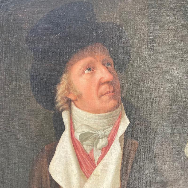 Huile Sur Toile Portrait Homme Au Chapeau époque 18ème-photo-3