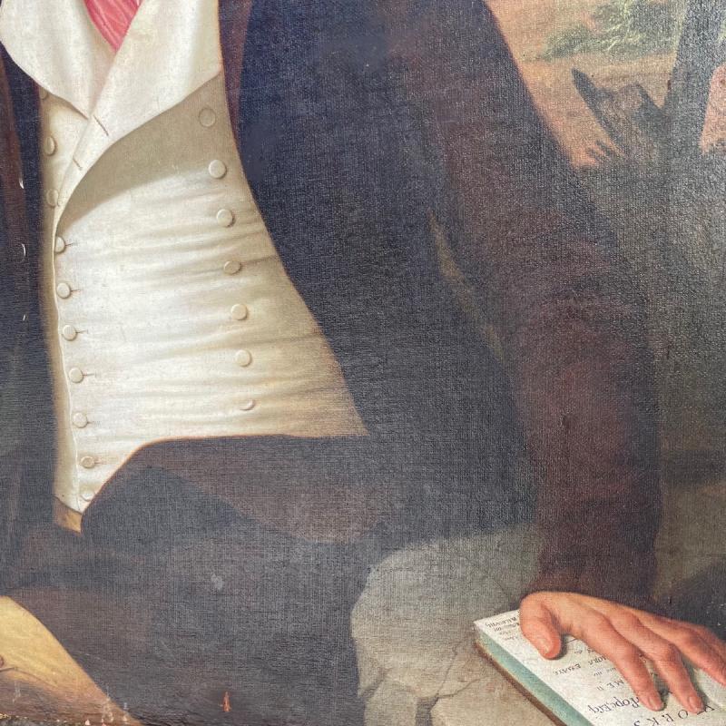 Huile Sur Toile Portrait Homme Au Chapeau époque 18ème-photo-4