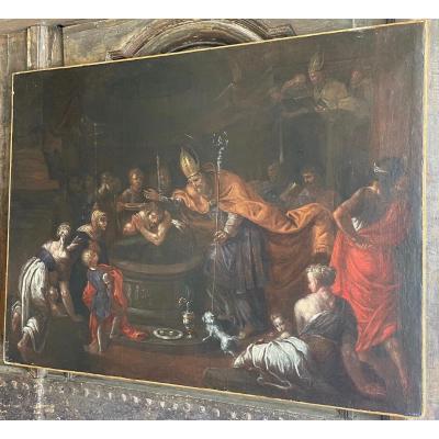 Oil On Canvas The Baptism Of Clovis