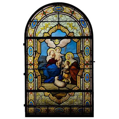 Stained Glass Window Stained Glass The Virgin The Child Jesus And Saint John The Baptist