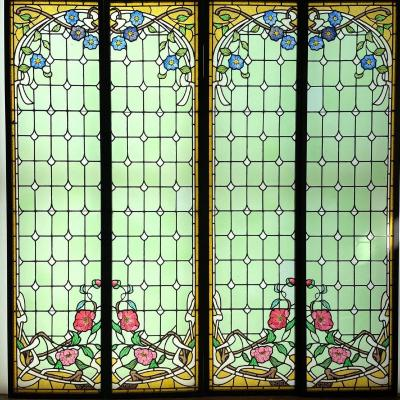 Stained Glass Clematis And Peonies 2 Pairs