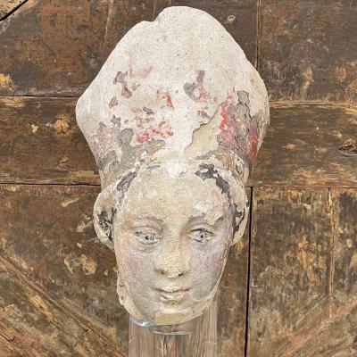 XVIth Polychrome Bishop's Head