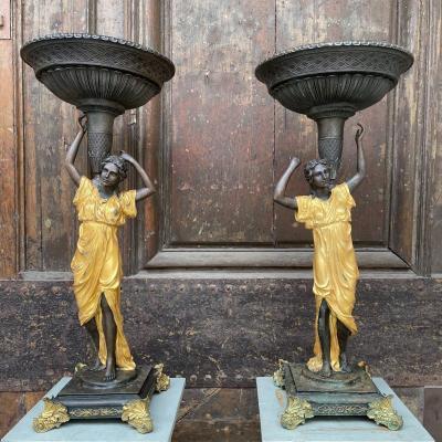 Large Pair Of Caryatids In Bronze