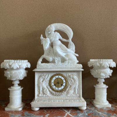 Nineteenth Alabaster Clock