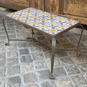 Table Basse Fer Forgé Et Faience