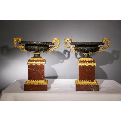 Paire De Cassolette En Marbre Rouge Griotte Bronze Doré époque 19ème Siècle