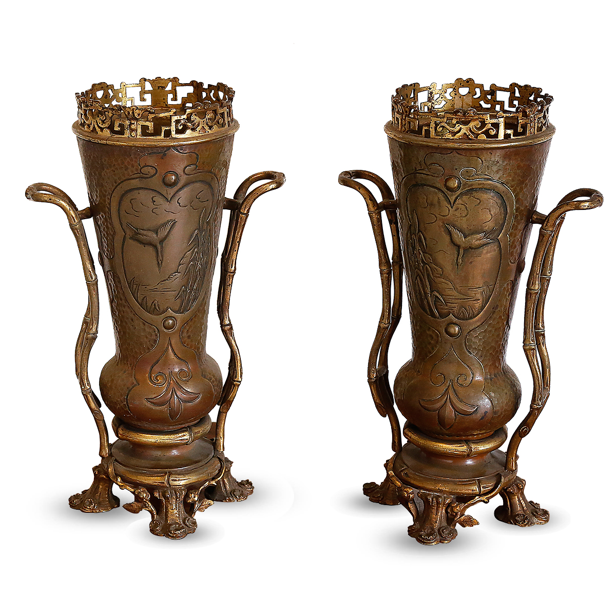 A Pair Of Bronze Vases In A Japanese-inspired Style