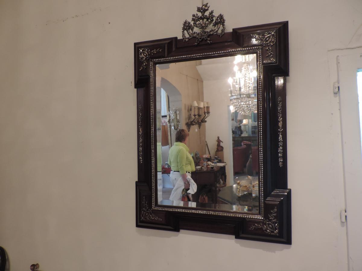 Miroir Palissandre Et Bronze Argente