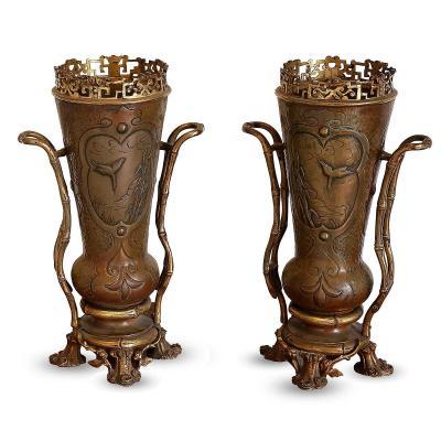 Paire De Vases En Bronze Japonisant XIXème