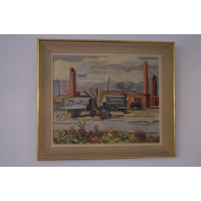 Peinture Huile Sur Toile Maurice-georges Poncelet