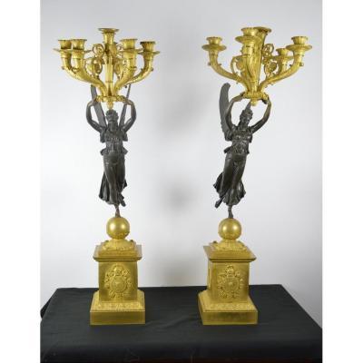 Paire De Candélabres En Bronze Doré  Thomire