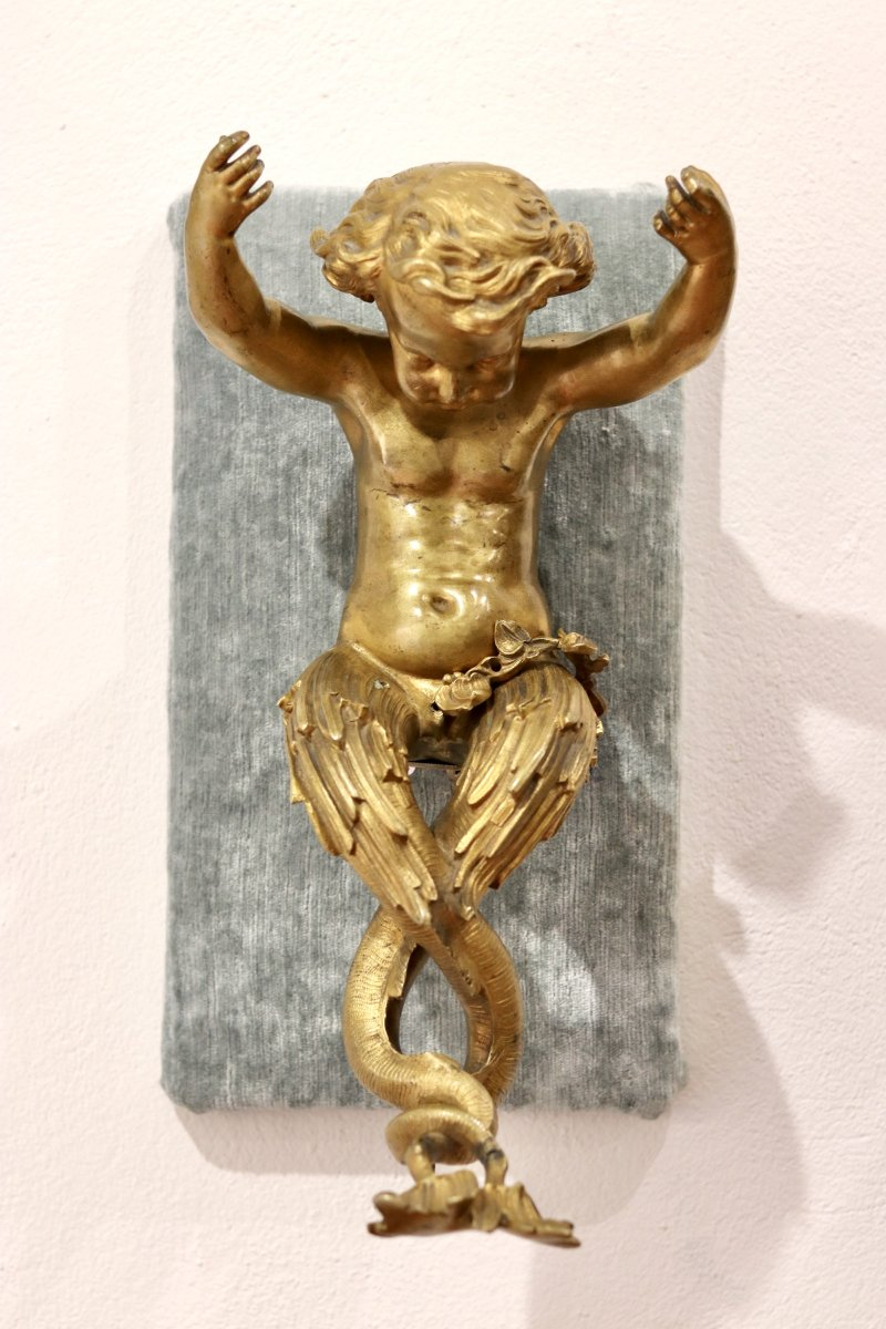 Paire De Putti En Bronze Doré