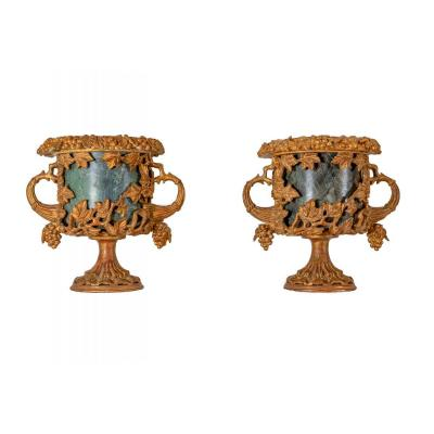Pair Of Vases In Marble And Golden Wood
