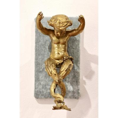 Pair Of Putti In Gilt Bronze