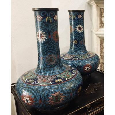 Pair Of Cloisonné Enamel Vases