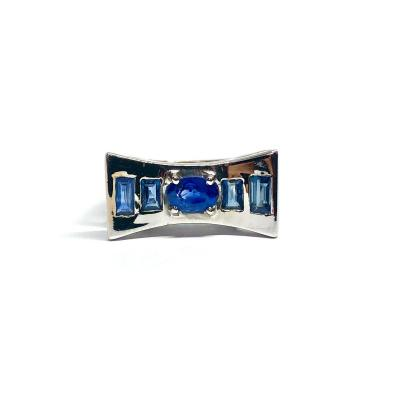Contemporary Ring 750 White Gold And Sapphires