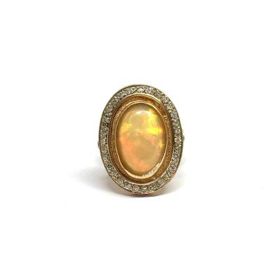 Ring 1970 Yellow Gold Opal And Diamonds
