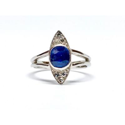 1940s White Gold Ring, Set With A Ceylon Sapphire