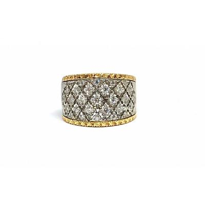 Two-tone 1990's Lace Ring In 750 Yellow And Gray Gold And Diamonds