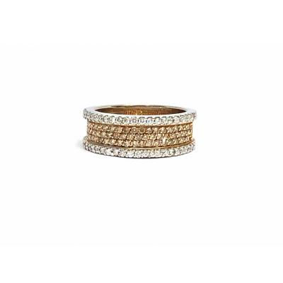 Two-tone 750 Gold Ring, Set With 1.10 Carats With Diamonds.
