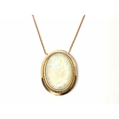 Pendentif Or Rose 750 Millièmes Et Opale