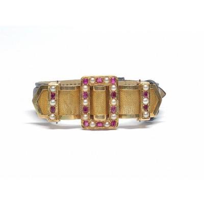 Bracelet Motif Central Années  40, Orné De Rubis Birmans, Perles Fines