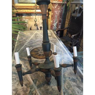 Small Wooden Chandelier Neo-classical Style
