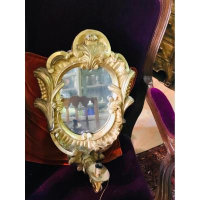 Pair Of Wall Mirror Golden Wood