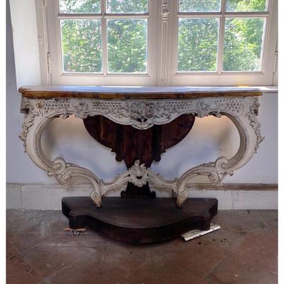 Console En Bois Sculpté De Style Louis XV