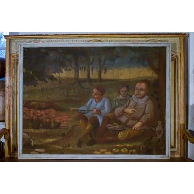 Painted Canvas XVII Eme Framed