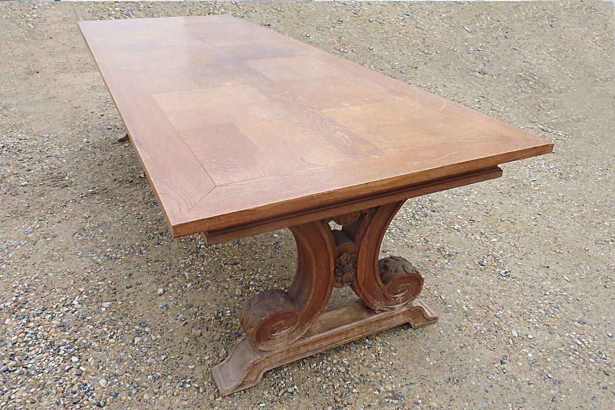 Dans le goût de Jean-Charles MOREUX (1892-1956) - Grande Table en Chêne, circa 1940-photo-3