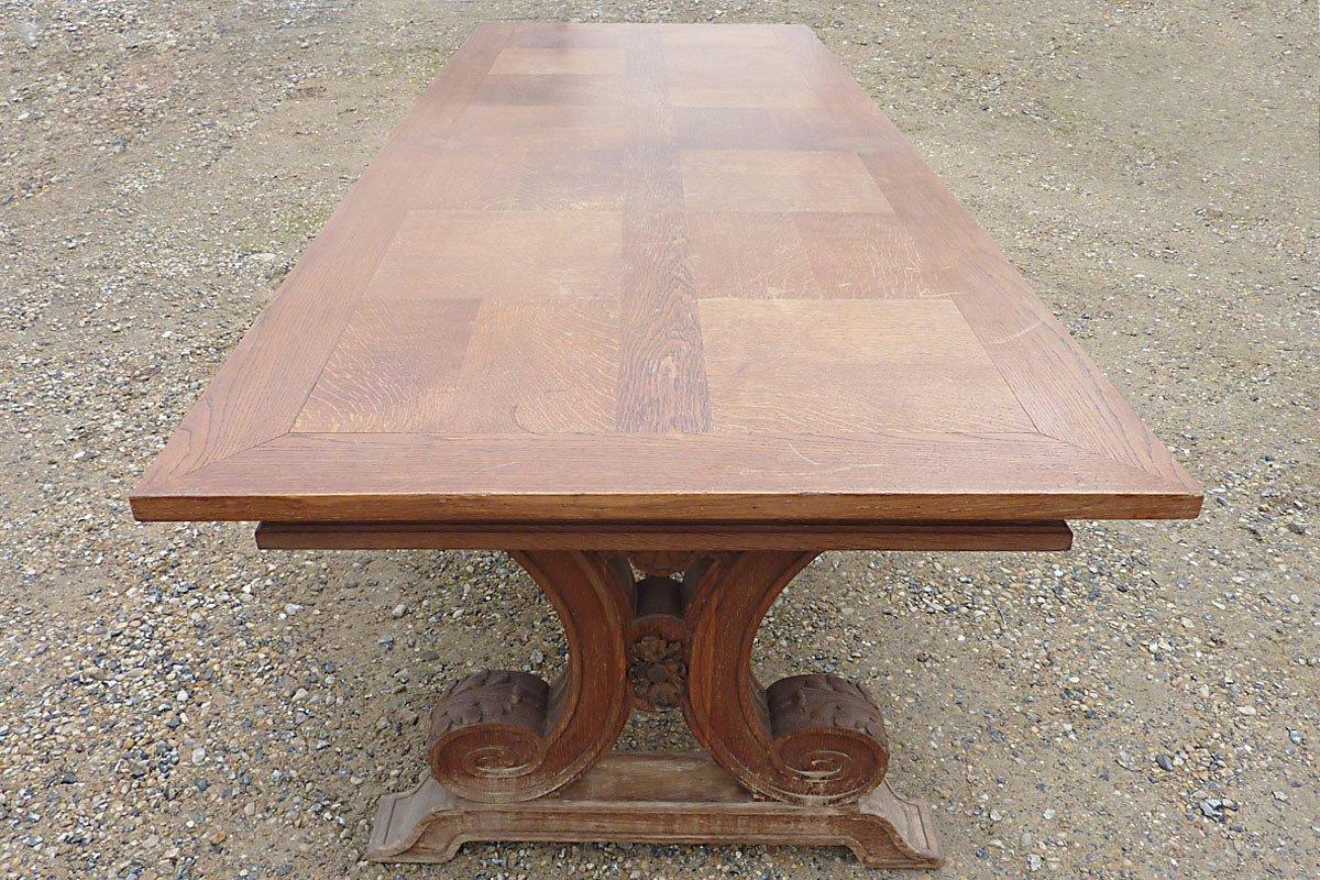 Dans le goût de Jean-Charles MOREUX (1892-1956) - Grande Table en Chêne, circa 1940-photo-4