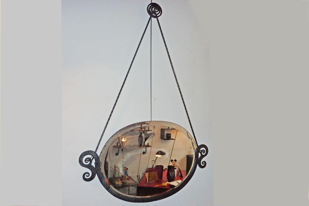 Console Et Miroir Fer Forgé, Art Déco, ca 1930-photo-3