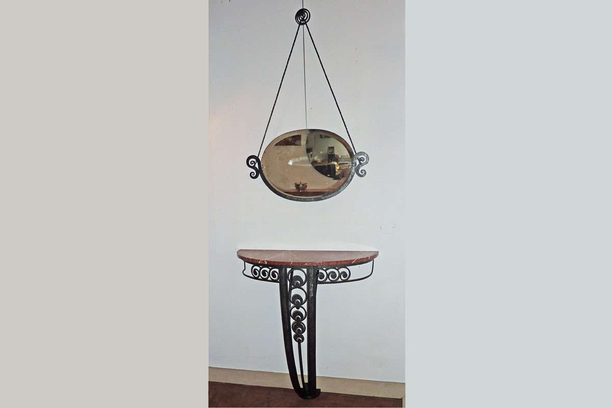 Console And Wrought Iron Mirror, Art Deco, Ca 1930