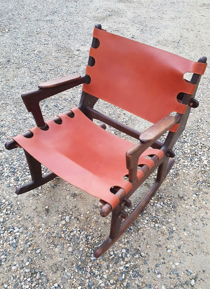 Rocking Chair - Rocking Chair In Mahogany And Leather From 1950-1960