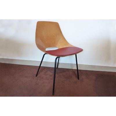 """Pierre GUARICHE (Paris,1926 - Bandol,1995) pour STEINER (Editeur) - Chaise """"Tonneau"""", 1954."""