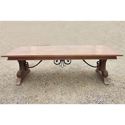 In The Style Of Jean-charles Moreux (1892-1956) - Large Table In Oak, Circa 1940