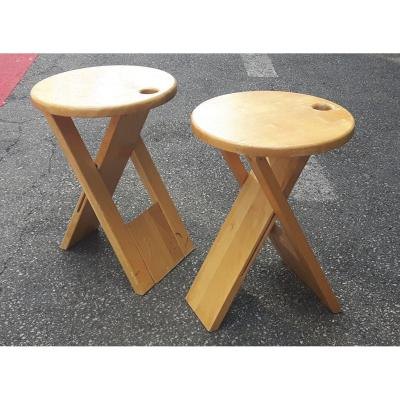 Roger Tallon (france 1929-2001) - Pair Of Foldable Stools, 1978.