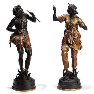 Grandes Sculptures figurant un Couple De Nubiens, vers 1880