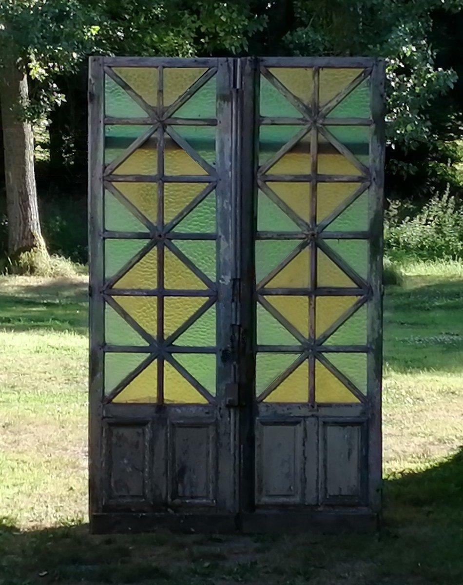 Double Old Glass Door In Oak XIXth Very Deco Doors