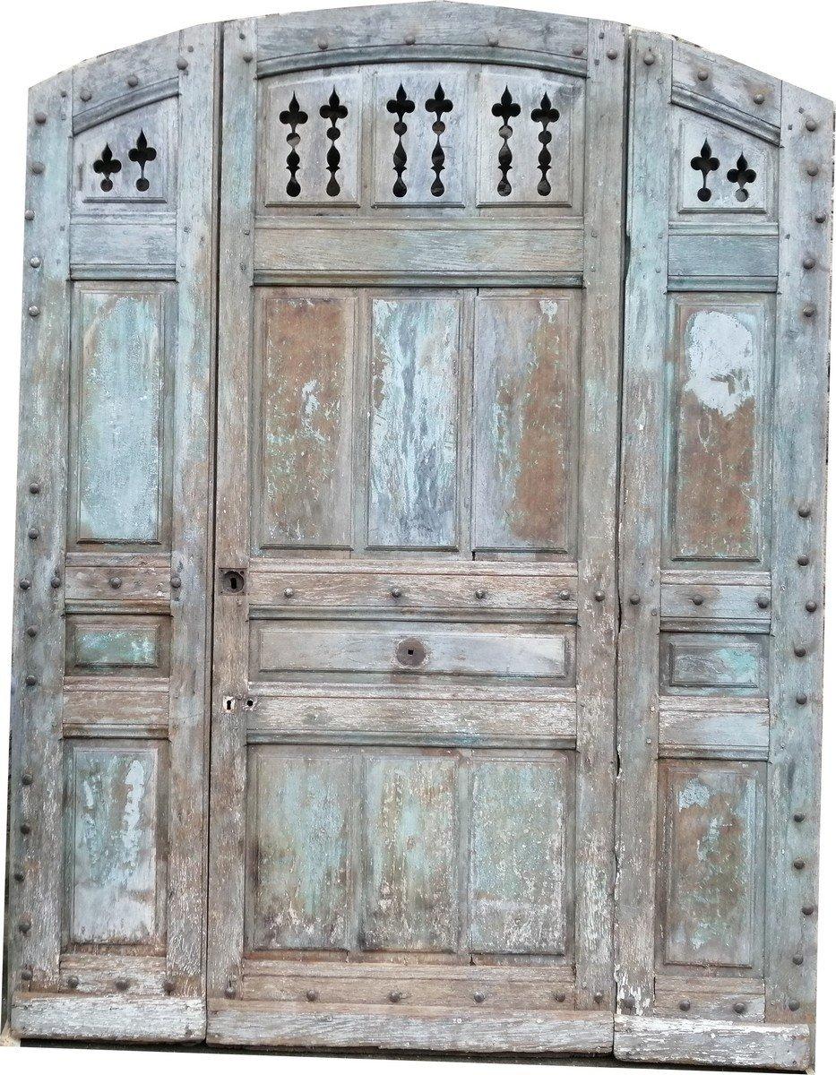 Porte Ancienne d'Entrée XIXème Cintrée En Chêne En Très Bon état Portes