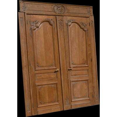 Double Old Oak Door Complete With Its Decors With Its Frame Woodwork Doors