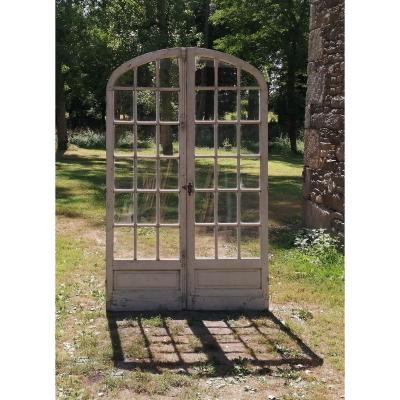 Porte Fenêtre d'Orangerie En Chêne Atelier Porte Ancienne