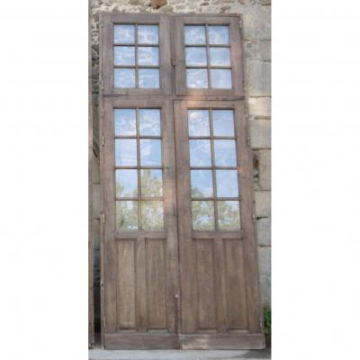 Large Old Window Door In Oak Epoque XIXth Doors Woodwork + Frame