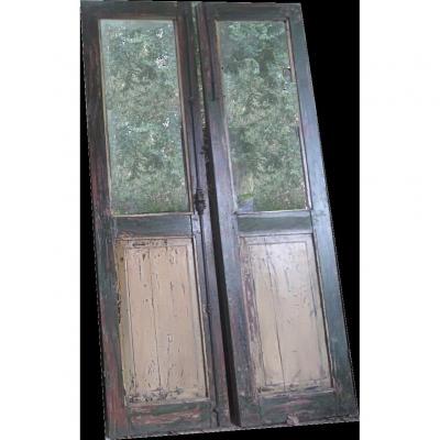 Two Glass Doors In Teak Beautiful Patina Alcove Workshop Door Old Showcase