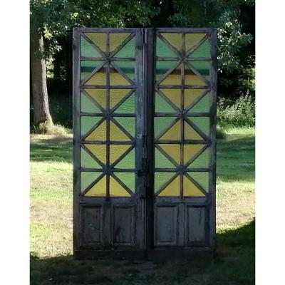 Double Old Glass Door In Oak XIXth Very Deco Doors
