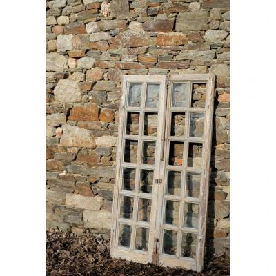 Lovely Old Window XVIIIth Period Oak Door Showcase Library