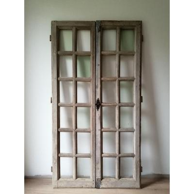 Fenêtre Ancienne En Chêne XVIIème Porte Vitrine Bibliothèque Portes